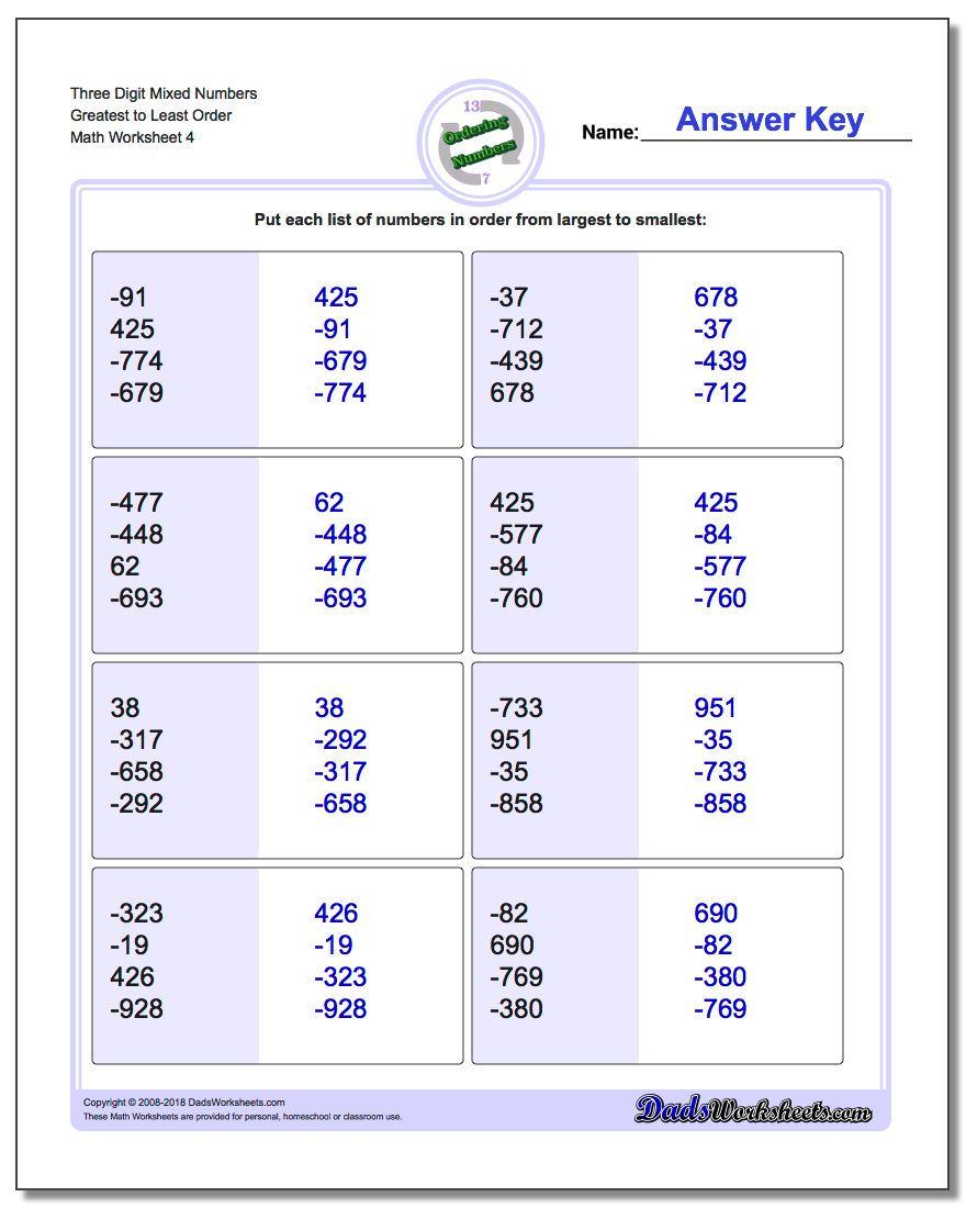 Three Digit Mixed Numbers Greatest to Least Order Worksheet