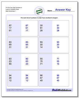 Ordering Numbers Worksheet Least to Greatest
