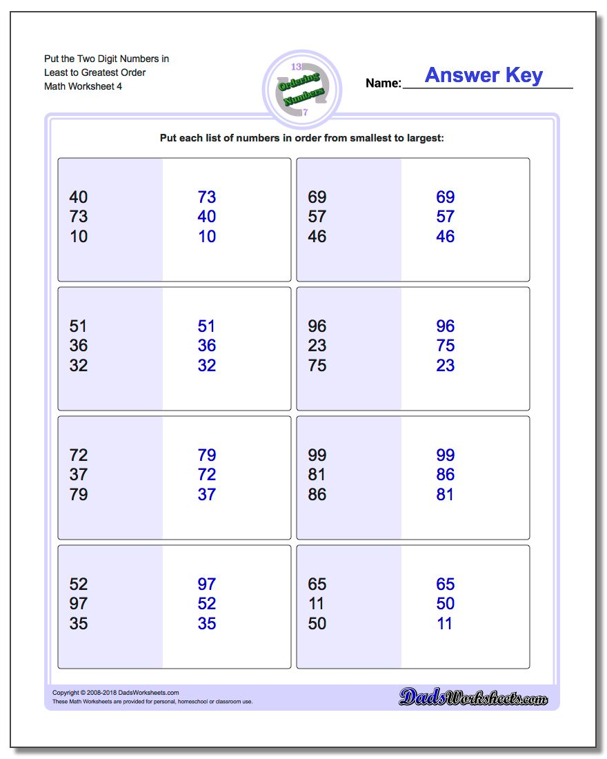 Put the Two Digit Numbers in Least to Greatest Order Worksheet