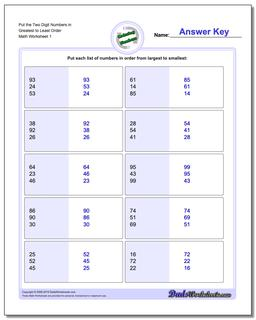 Ordering Numbers Worksheet Put the Two Digit in Greatest to Least Order