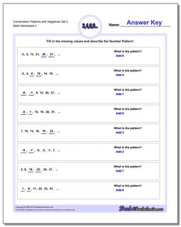 Combination Patterns with Negatives Set 2 Worksheet