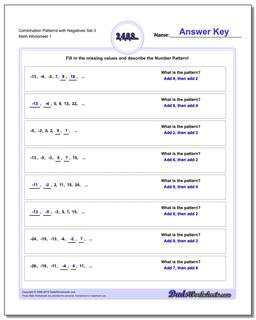 Combination Patterns with Negatives Set 3 Worksheet #Patterns #with #Negatives #Worksheet