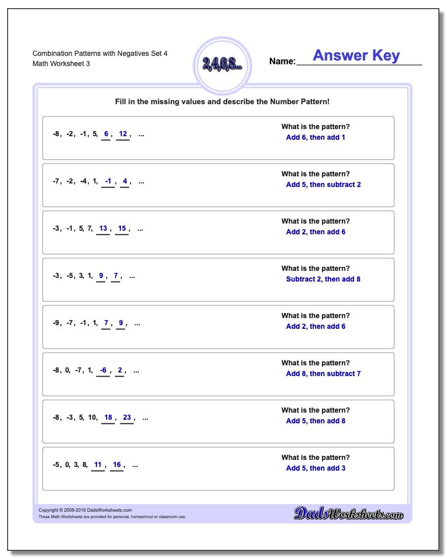Combination Patterns with Negatives Set 4 Worksheet