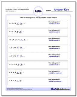 Combination Patterns with Negatives Set 4 Worksheet #Patterns #with #Negatives #Worksheet