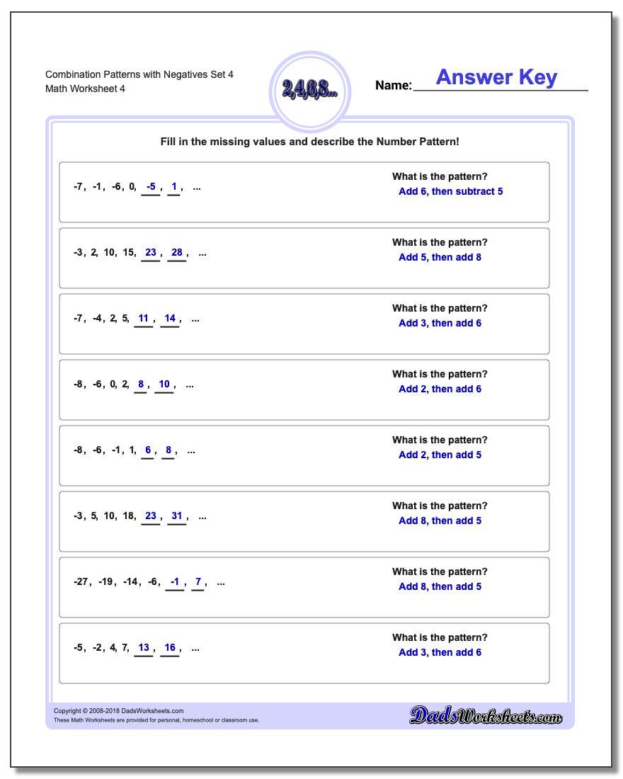 Combination Patterns with Negatives Set 4 Worksheet