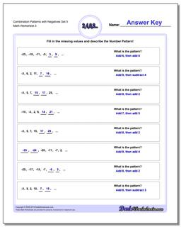 Combination Patterns with Negatives Set 5 Worksheet #Patterns #with #Negatives #Worksheet
