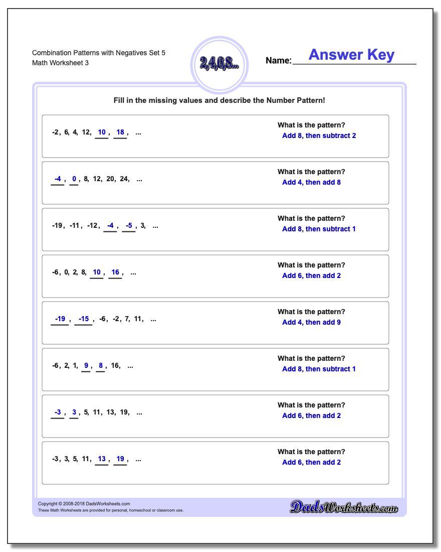Combination Patterns with Negatives Set 5 Worksheet