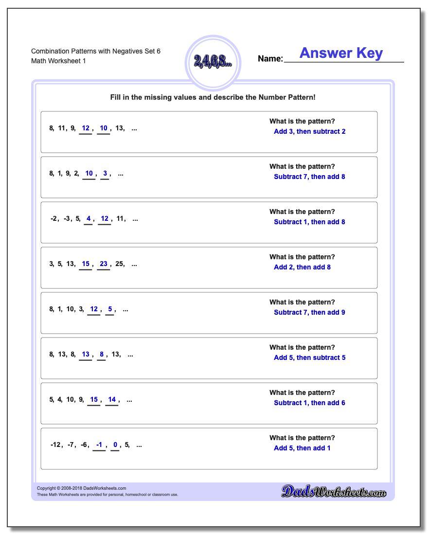 Patterns with Negatives Combination Set 6 Worksheet