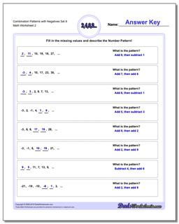 Combination Patterns with Negatives Set 6 Worksheet #Patterns #with #Negatives #Worksheet
