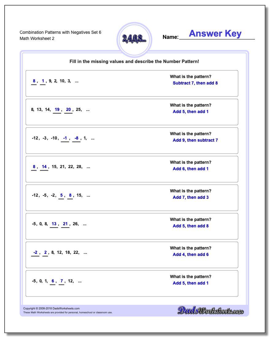 Combination Patterns with Negatives Set 6 www.dadsworksheets.com/worksheets/patterns-with-negatives.html Worksheet