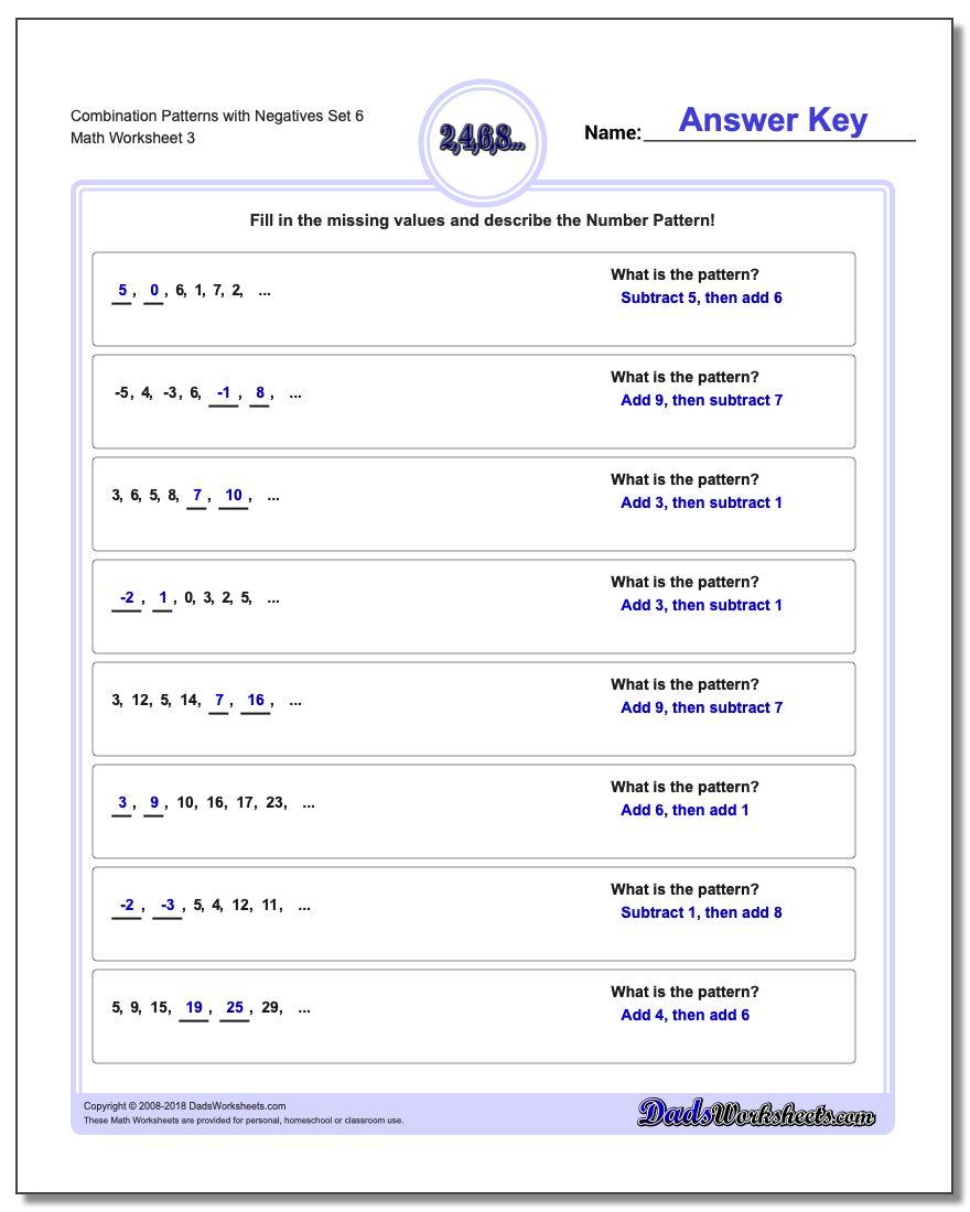 Combination Patterns with Negatives Set 6 Worksheet