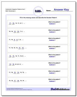 Subtraction Worksheet Negative Patterns Set 2 www.dadsworksheets.com/worksheets/patterns-with-negatives.html