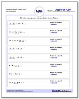 Subtraction Worksheet Negative Patterns Set 2