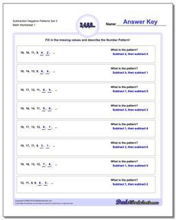 Patterns with Negatives Subtraction Worksheet Negative Set 3