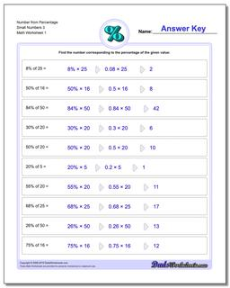 Number from Percentage Small Numbers 3 Percentages Worksheet