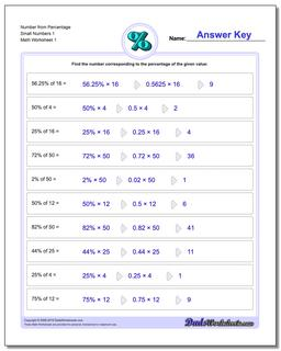 Number from Percentage Small Numbers 1 Percentages Worksheet