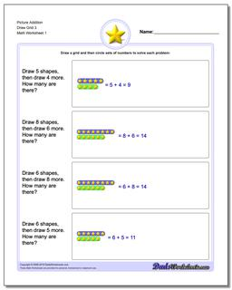Picture Math Addition Worksheet Draw Grid 3