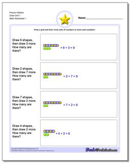 Picture Math Addition Worksheet Draw Grid