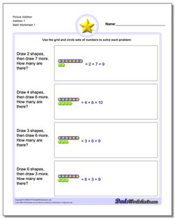 Picture Math Addition Worksheet 1
