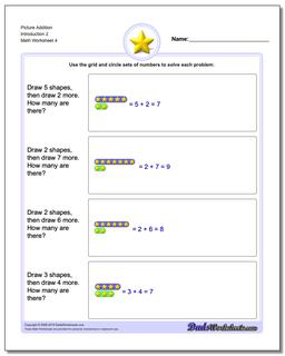 Picture Addition Worksheet Introduction 2