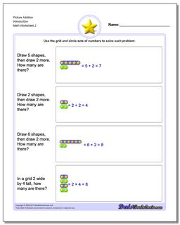 Picture Addition Worksheet Introduction www.dadsworksheets.com/worksheets/picture-math-addition.html