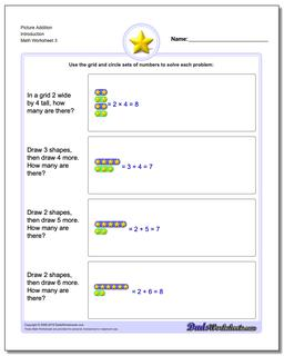 Picture Addition Worksheet Introduction