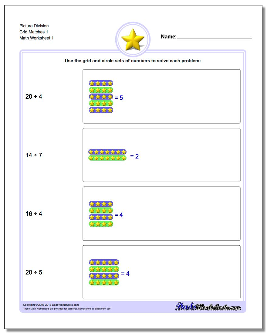 Picture Math Division Worksheet Grid Matches 1