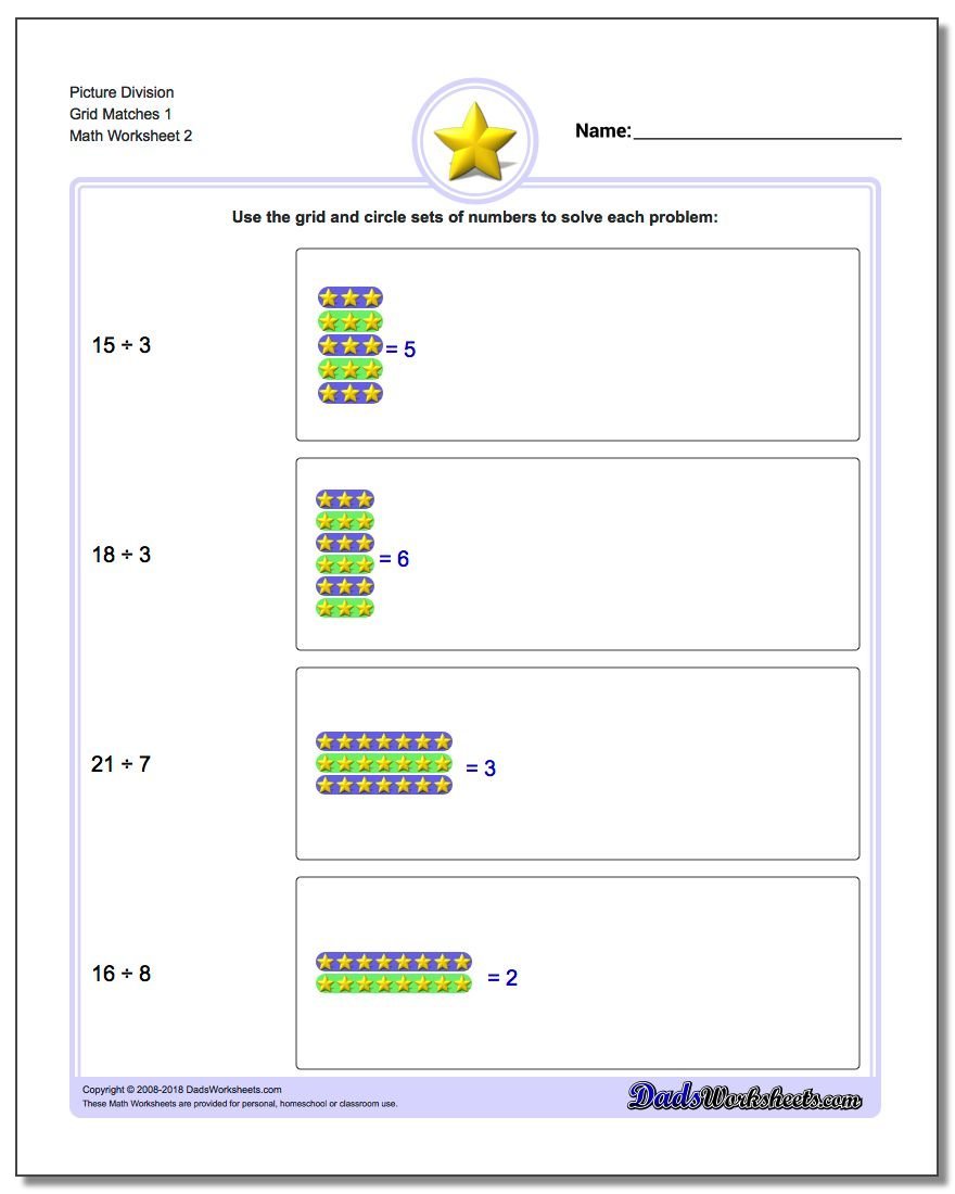 Picture Division Worksheet Grid Matches 1 www.dadsworksheets.com/worksheets/picture-math-division.html