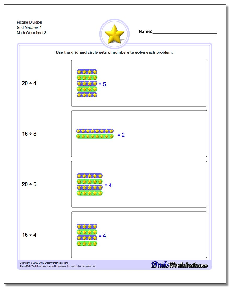 Picture Division Worksheet Grid Matches 1