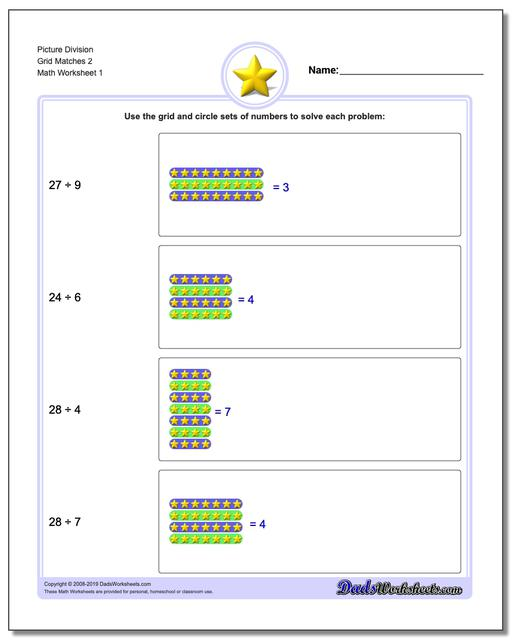 Picture Math Division Worksheets Grid Matches 2