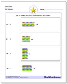 Picture Math Division Worksheet Grid Matches 2
