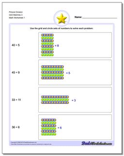 Picture Math Division Worksheet Grid Matches 3