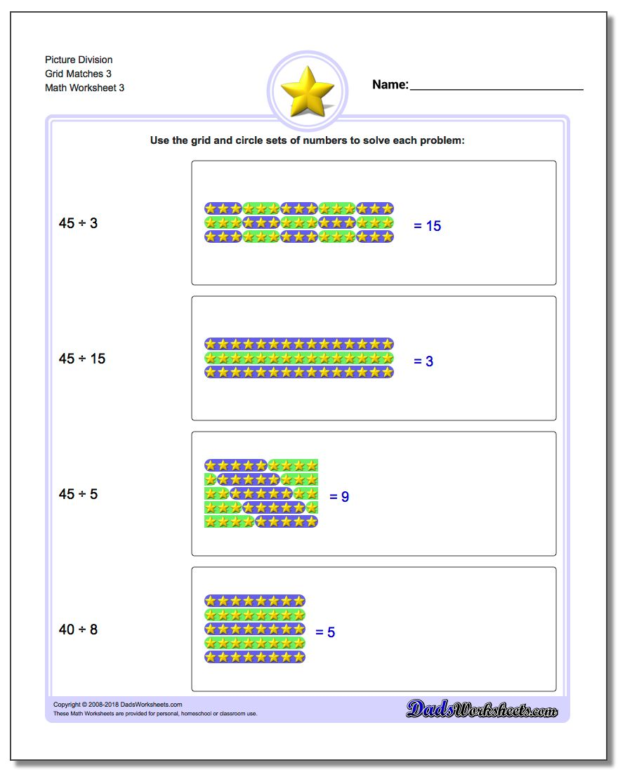 Picture Division Worksheet Grid Matches 3