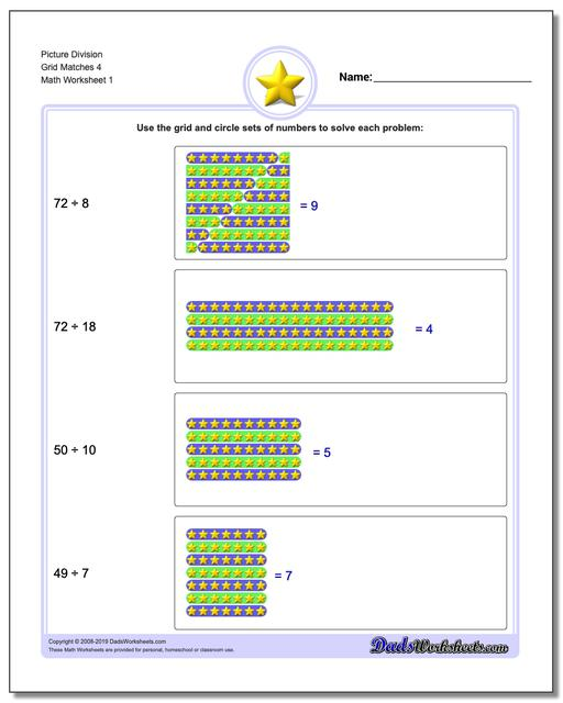 Picture Math Division Worksheets Grid Matches 4
