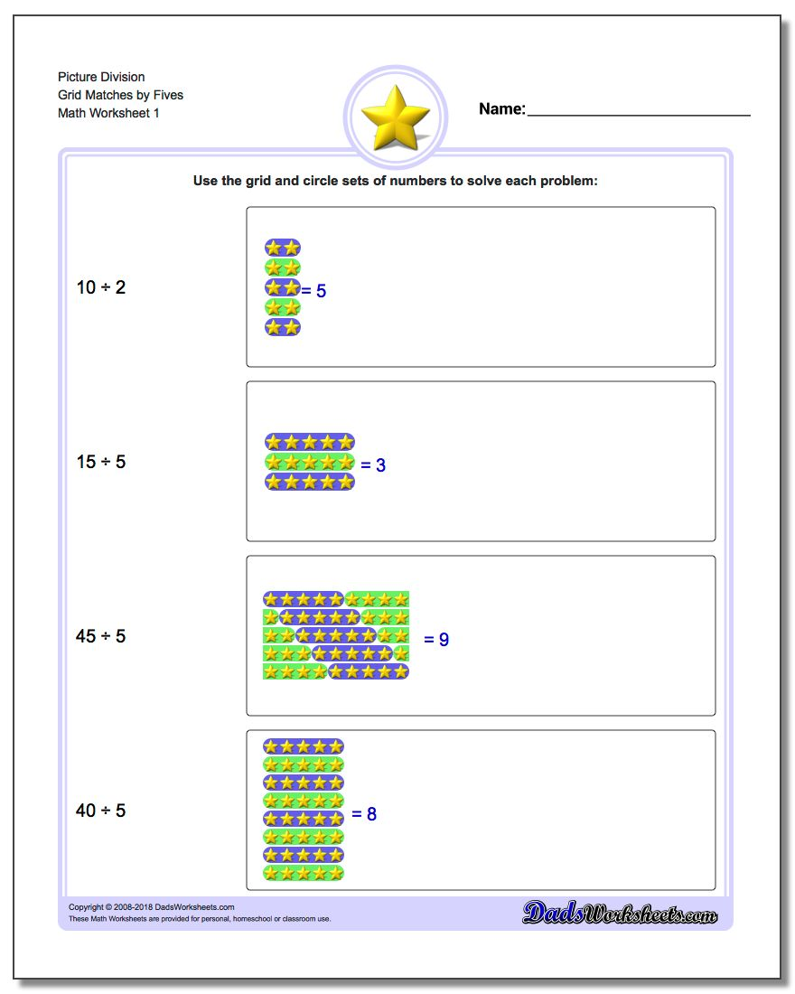Picture Math Division Worksheet Grid Matches by Fives
