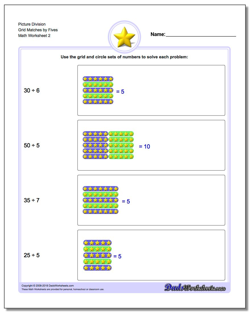 Picture Division Worksheet Grid Matches by Fives www.dadsworksheets.com/worksheets/picture-math-division.html