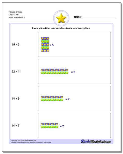 Picture Math Division Worksheets Draw Grid 1