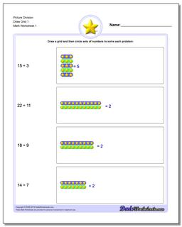 Picture Math Division Worksheet Draw Grid 1