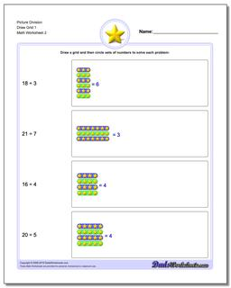 Picture Division Worksheet Draw Grid 1 www.dadsworksheets.com/worksheets/picture-math-division.html