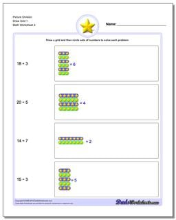 Picture Division Worksheet Draw Grid 1