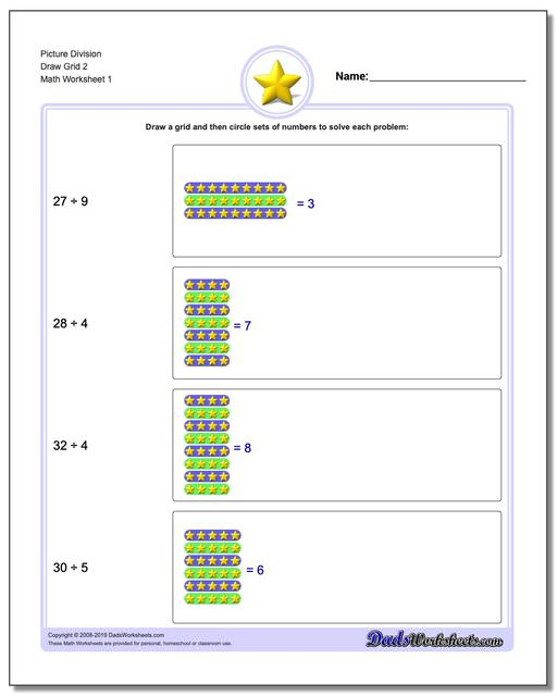 Picture Math Division Worksheets Draw Grid 2