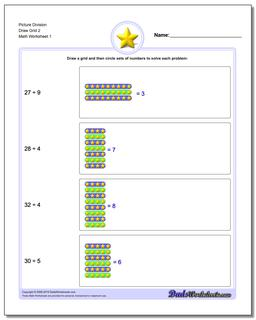 Picture Math Division Worksheet Draw Grid 2