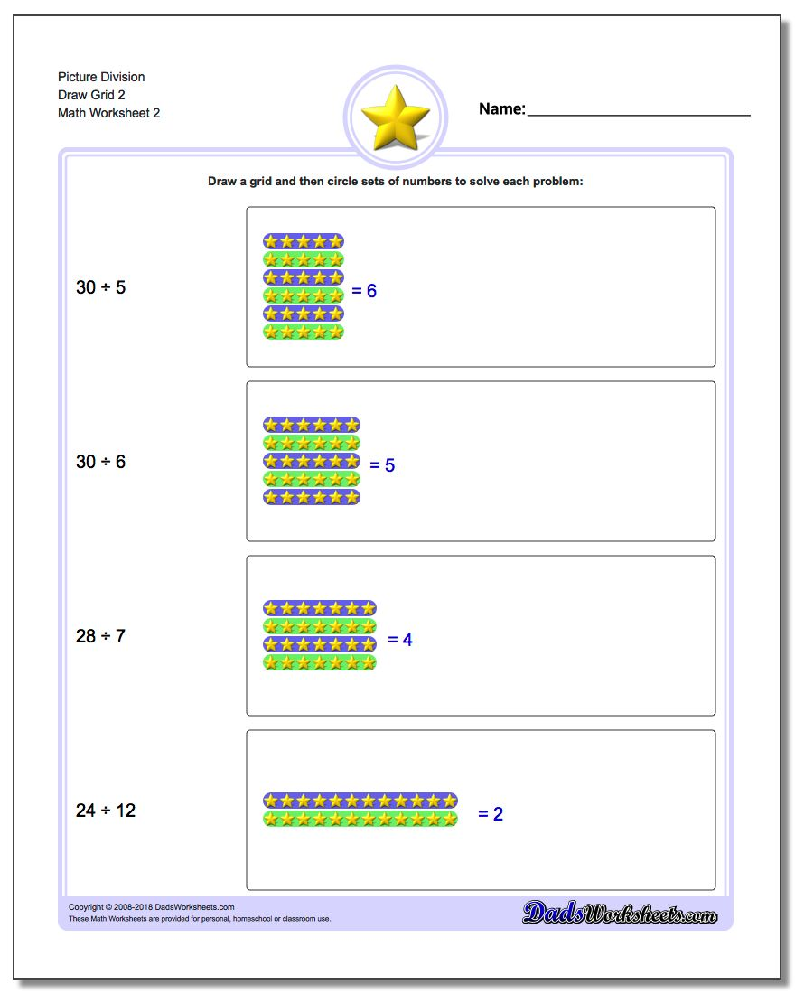 Picture Division Worksheet Draw Grid 2 www.dadsworksheets.com/worksheets/picture-math-division.html