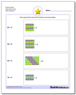 Picture Math Division Worksheet Draw Grid by Fives