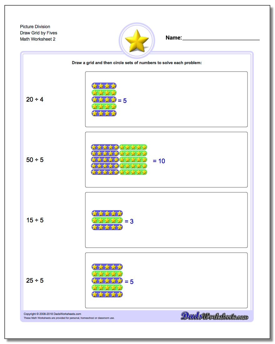 Picture Division Worksheet Draw Grid by Fives www.dadsworksheets.com/worksheets/picture-math-division.html