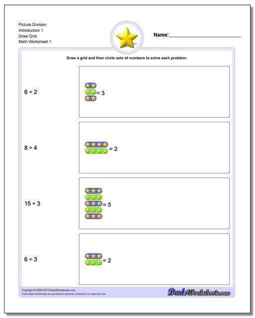 Picture Math Division Worksheets Introduction 1 Draw Grid