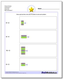 Picture Math Division Worksheet Draw Grid