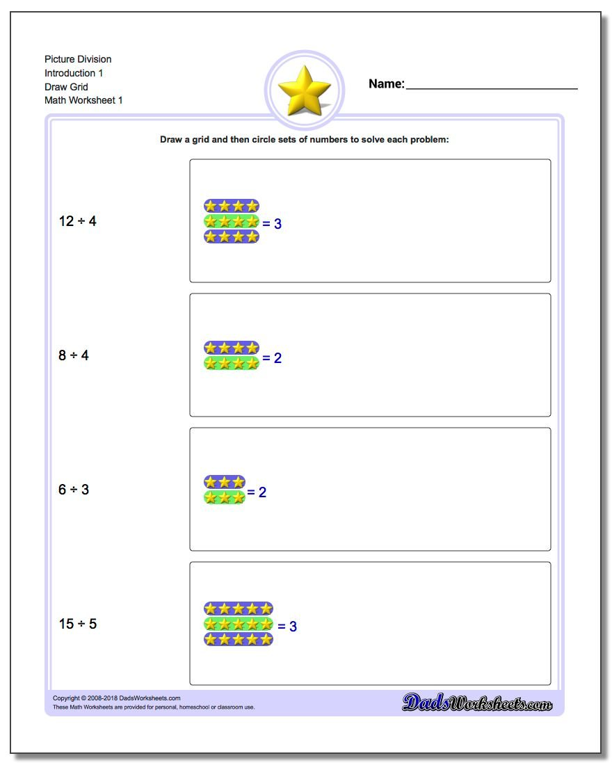 worksheet Dividing Numbers Worksheet division draw grid picture math worksheet introduction 1 grid