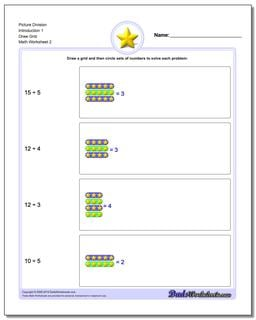 Picture Division Worksheet Introduction 1 Draw Grid www.dadsworksheets.com/worksheets/picture-math-division.html