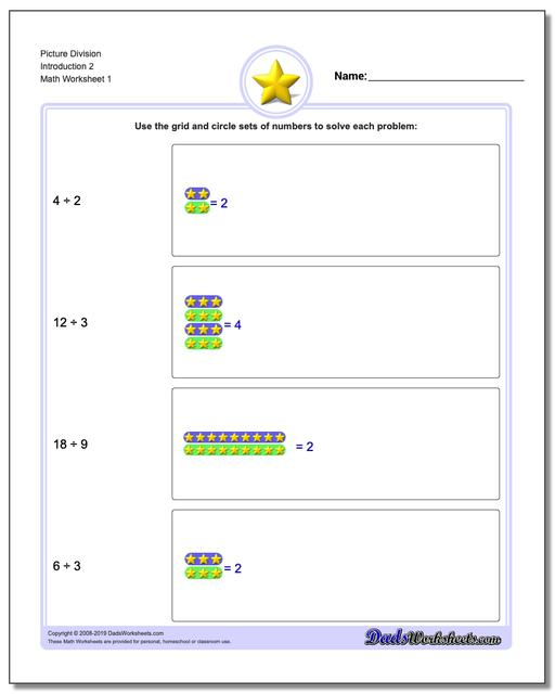 Picture Math Division Worksheets Introduction 2